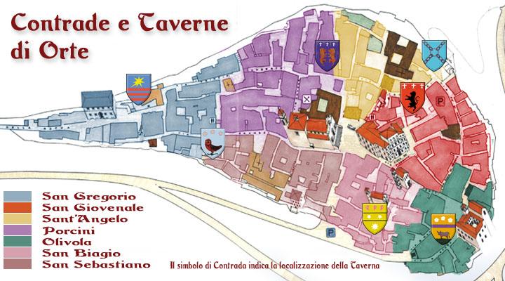 mappa delle taverne di contrada